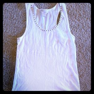 White tank with studs along neckline